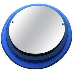 Luigi Fontana Arte Oval Wall Mirror Blue Cobalt Midcentury Max Ingrand, 1950s