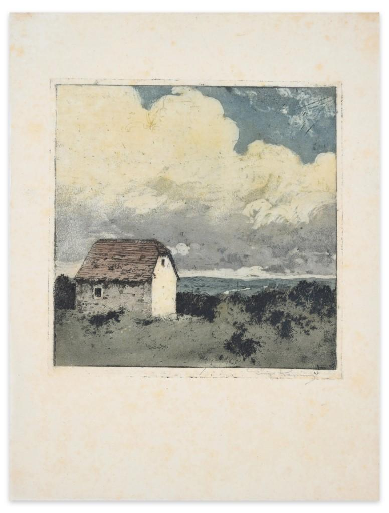 Cottage in the Countryside - Original Etching by Luigi Kasimir - 20th Century