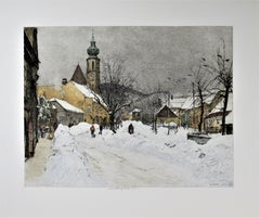 Grinzing Snow Scene, Austria, large color etching
