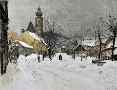 Grinzing Snow Scene, Austria, large color etching