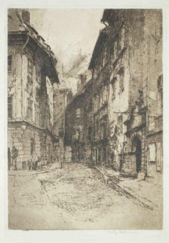 Landscape - Original Etching by Luigi Kasimir - Early 1900