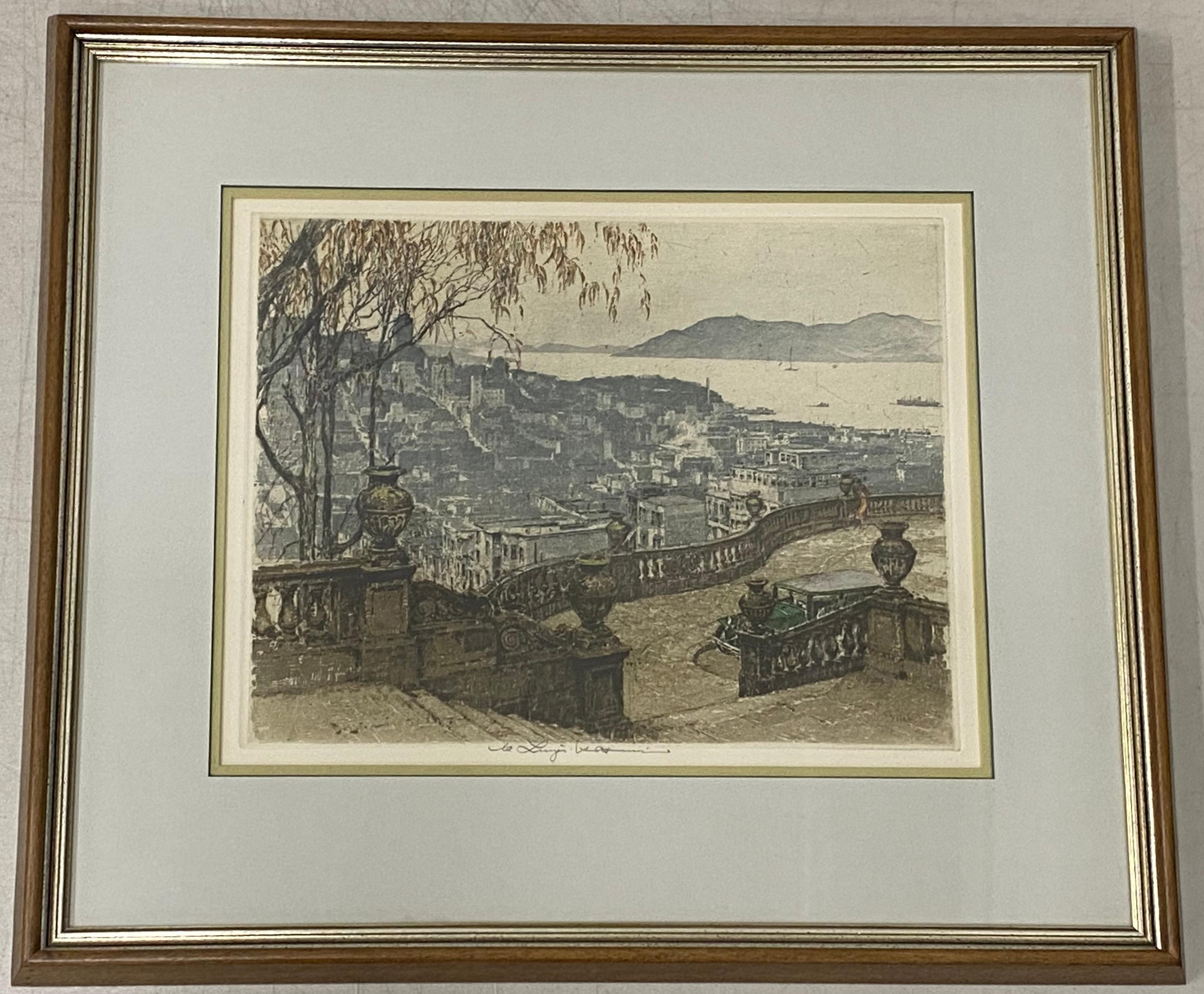 """Luigi Kasimir Estate Signed """"SF Bay From Coit Tower"""" Etching c.1930s/1960s"""