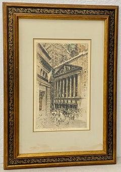 """Luigi Kasimir Estate Signed """"Wall Street"""" Etching c.1930s/1960s"""
