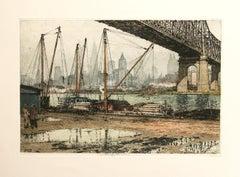 New York, Queensboro Bridge color etching Luigi Kasimir
