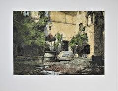 Seebenstein Castle Courtyard, Austria, large color etching