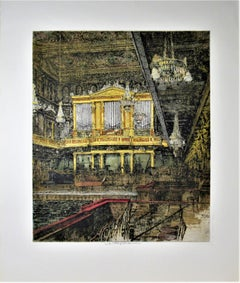 Vienna Concert Hall, Austria, large color etching