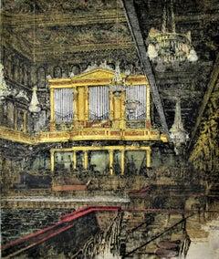 Vienna Concert Hall, Austria, large color etching