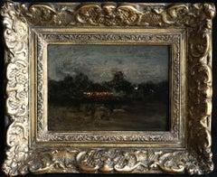Caroussel la Nuit - Paris - 19th Century Oil, Figures in Landscape by Luigi Loir