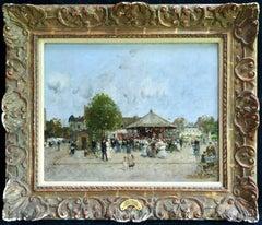 Fete Foraine - Paris - Impressionist Oil, Figures in Landscape by Luigi Loir