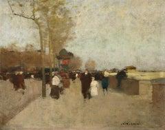 Figures by the Seine - 19th Century Oil, Figures by River Landscape - Luigi Loir