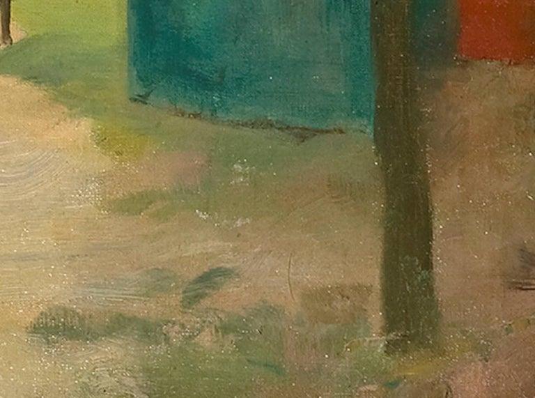 Figures in a Park - Brown Landscape Painting by Luigi Loir