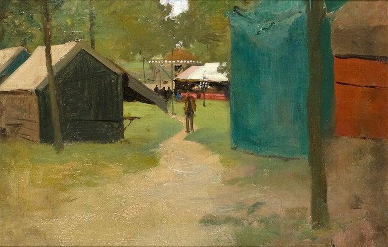 Figures in a Park - Painting by Luigi Loir