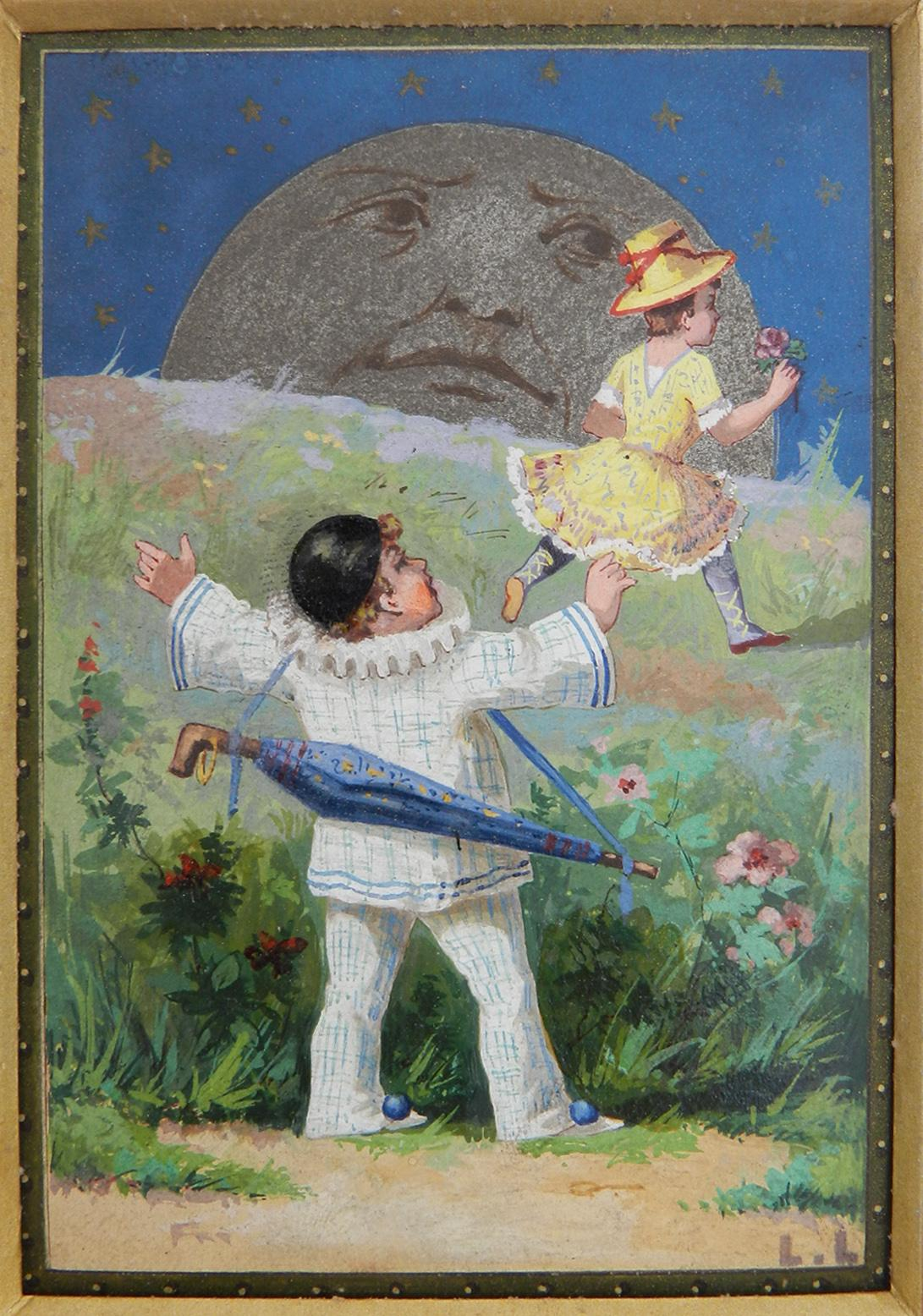 Oil Painting Pierrot, Colombine and the Moon by Luigi Loir Belle Epoque