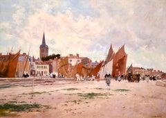 On the Quay - Impressionist Oil, Figures in Coastal Landscape by Luigi Loir