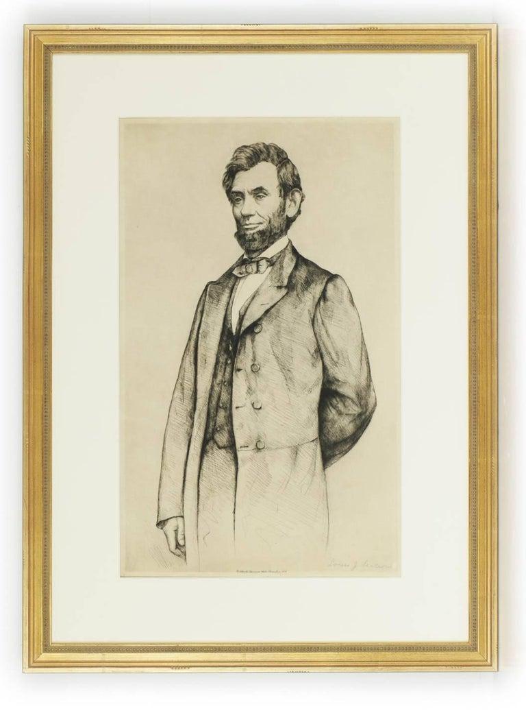 Luigi Lucioni Portrait Print - Portrait of Abraham Lincoln