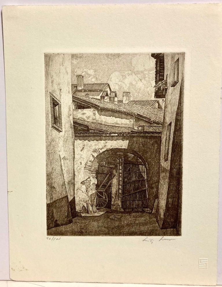 Shadows in Lombardy - American Modern Print by Luigi Lucioni