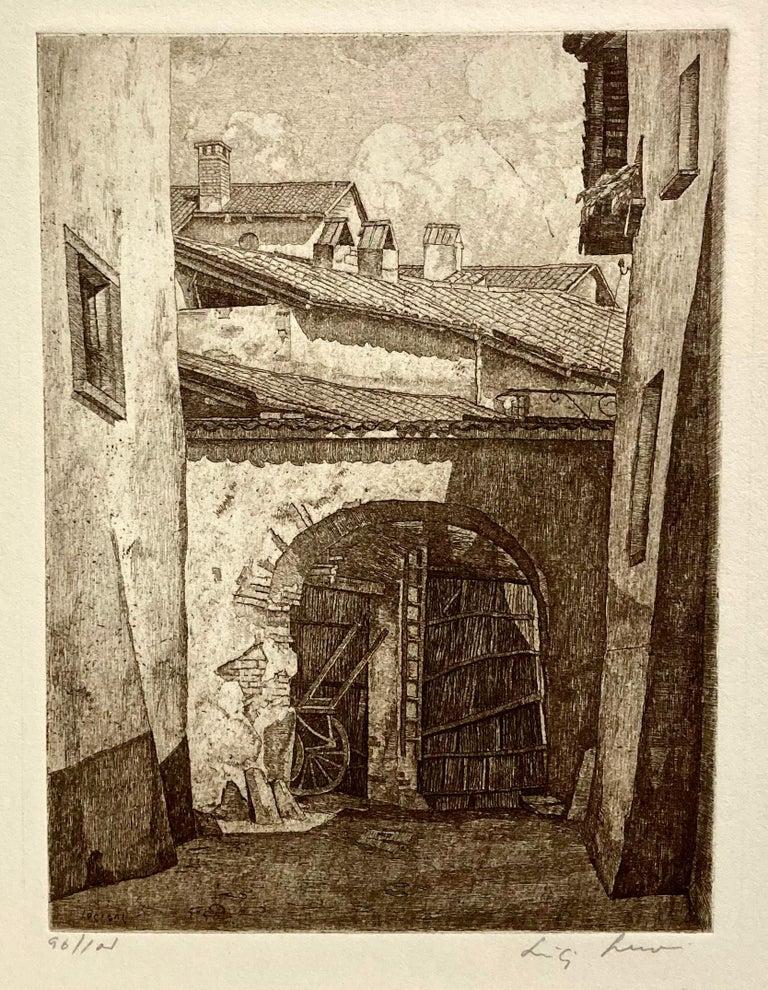 Luigi Lucioni Landscape Print - Shadows in Lombardy