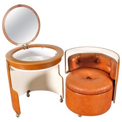 "Luigi Massoni for Poltrona Frau ""Dilly Dally"" Leather Dressing Table, Italy 1968"