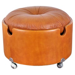 Luigi Massoni for Poltrona Frau Leather Ottoman, Italy, 1968