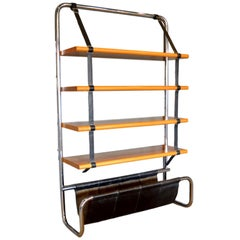 "Luigi Massoni Leather and Oak ""Jumbo"" Bookshelf"