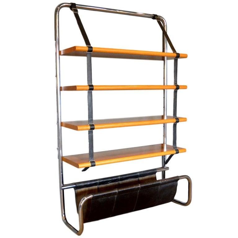 "Luigi Massoni Leather and Oak ""Jumbo"" Bookshelf For Sale"
