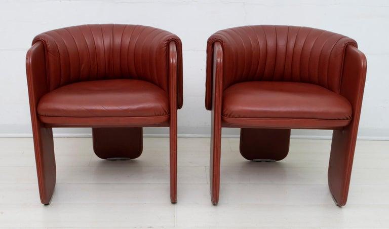 Luigi Massoni Modern Italian Real Leather Armchairs for Poltrona Frau, Pair In Good Condition For Sale In Cerignola, Italy Puglia