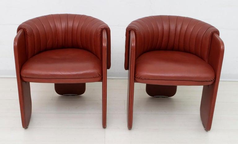 Late 20th Century Luigi Massoni Modern Italian Real Leather Armchairs for Poltrona Frau, Pair For Sale