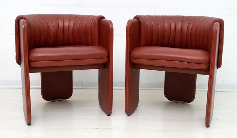 Luigi Massoni Modern Italian Real Leather Armchairs for Poltrona Frau, Pair For Sale 1