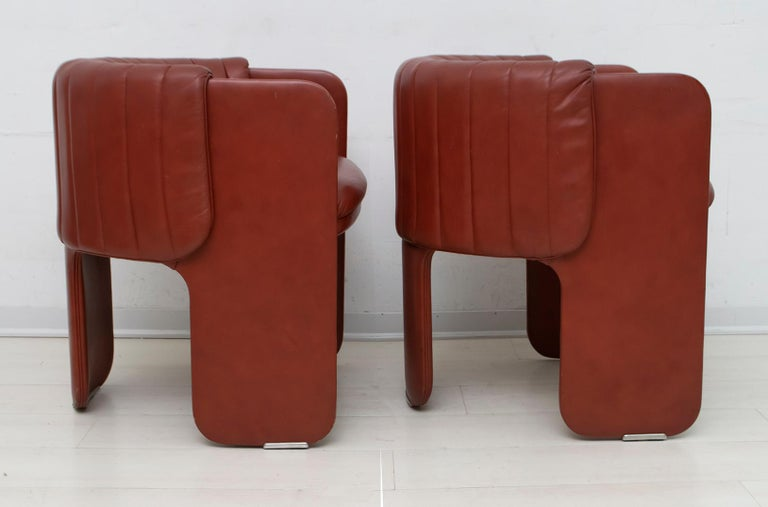 Luigi Massoni Modern Italian Real Leather Armchairs for Poltrona Frau, Pair For Sale 2