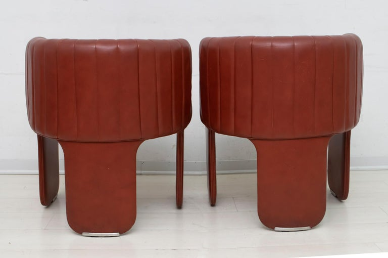 Luigi Massoni Modern Italian Real Leather Armchairs for Poltrona Frau, Pair For Sale 3