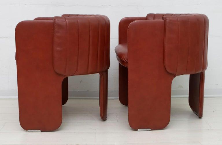 Luigi Massoni Modern Italian Real Leather Armchairs for Poltrona Frau, Pair For Sale 4