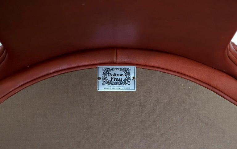 Luigi Massoni Modern Italian Real Leather Armchairs for Poltrona Frau, Pair For Sale 5