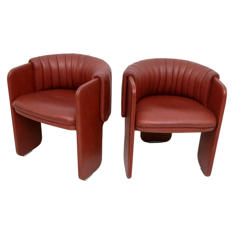 Luigi Massoni Modern Italian Real Leather Armchairs for Poltrona Frau, Pair For Sale