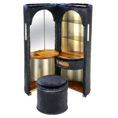 Luigi Massoni Dressing Vanity Cabinet Bar Stool Ottoman Mobile Fur Navy 1970