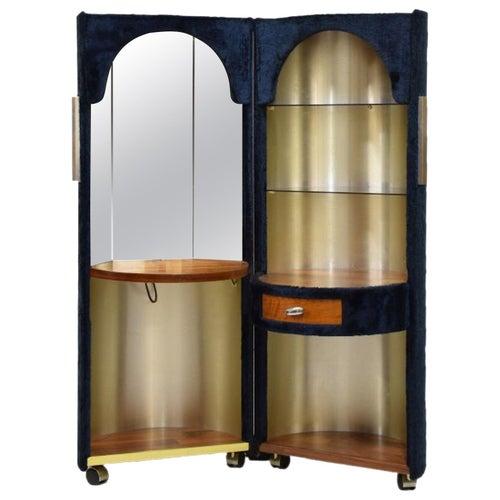 Luigi Massoni Poltrona Frau Dressing Vanity Cabinet Stool Faux Fur Mobile, 1970s