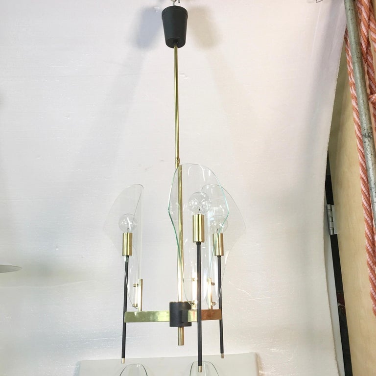 Mid-Century Modern Luigi Molin 3-Light Chandelier with Curved Glass For Sale