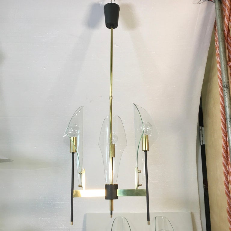 Mid-20th Century Luigi Molin 3-Light Chandelier with Curved Glass For Sale