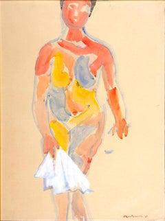 Female Nude - Gouache on Paper by Luigi Montanarini - 1985
