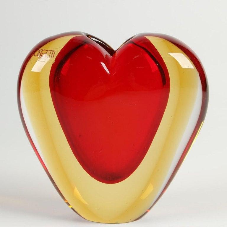 Italian Luigi Onesto for Murano Heart Shaped Sommerso Glass Vase  For Sale
