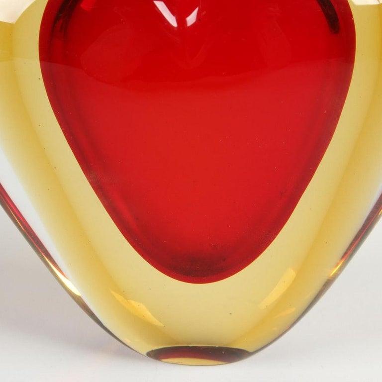 Late 20th Century Luigi Onesto for Murano Heart Shaped Sommerso Glass Vase  For Sale