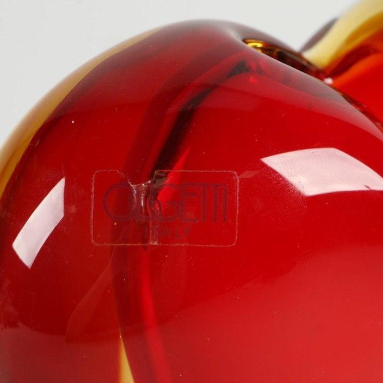 Blown Glass Luigi Onesto for Murano Heart Shaped Sommerso Glass Vase  For Sale