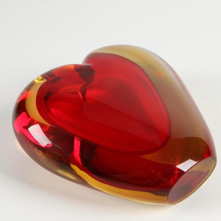 Luigi Onesto for Murano Heart Shaped Sommerso Glass Vase  For Sale 1