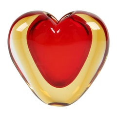 Luigi Onesto for Murano Heart Shaped Sommerso Glass Vase