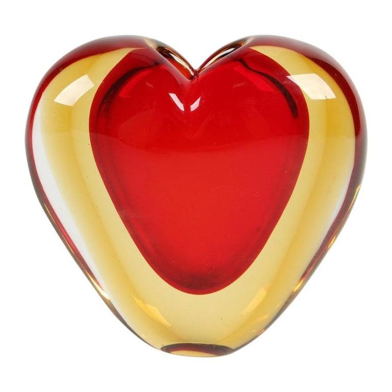 Luigi Onesto for Murano Heart Shaped Sommerso Glass Vase  For Sale