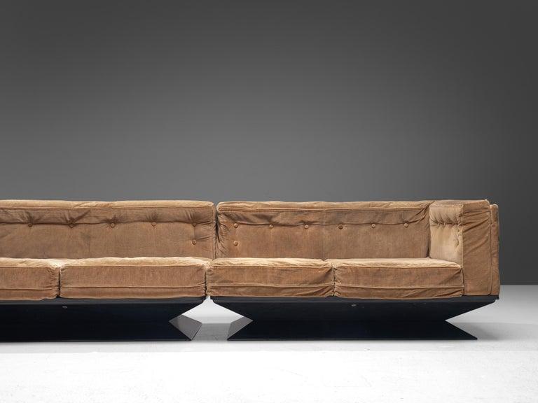 Luigi Pellegrin for MIM Roma Sectional Sofa in Light Brown Velvet Upholstery For Sale 3