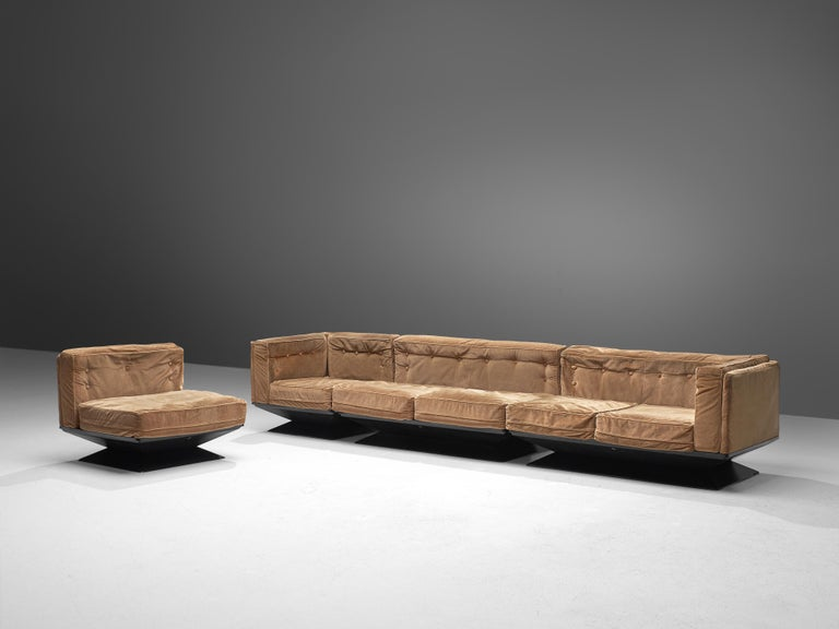 Luigi Pellegrin for MIM Roma, sectional sofa with two sofas and two lounge chairs, velvet fabric, metal, polyester, Italy, 1950s  This versatile lounge set by Luigi Pellegrin for MIM Roma allows you to arrange it to your own liking. Either placed