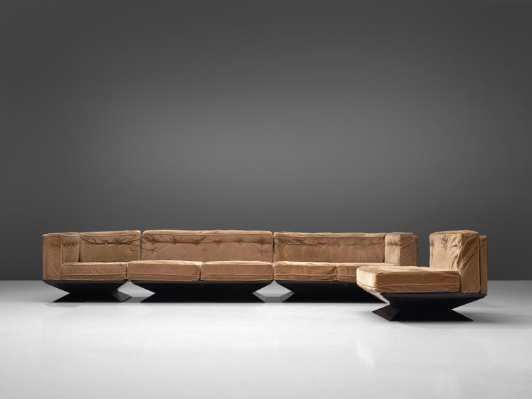 Mid-Century Modern Luigi Pellegrin for MIM Roma Sectional Sofa in Light Brown Velvet Upholstery For Sale
