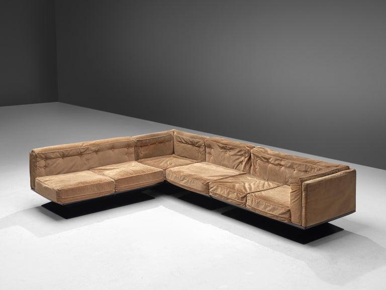 Italian Luigi Pellegrin for MIM Roma Sectional Sofa in Light Brown Velvet Upholstery For Sale