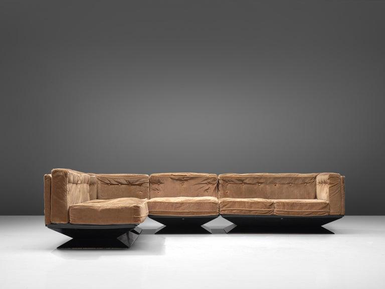 Luigi Pellegrin for MIM Roma Sectional Sofa in Light Brown Velvet Upholstery In Fair Condition For Sale In Waalwijk, NL