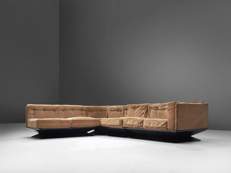 Metal Luigi Pellegrin for MIM Roma Sectional Sofa in Light Brown Velvet Upholstery For Sale